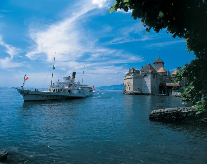 Chillon Castle near Montreux on Lake Geneva, Canton Vaud